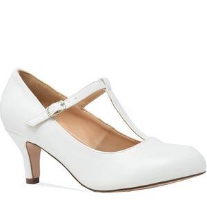 Women's T-strap Pump Heels  White
